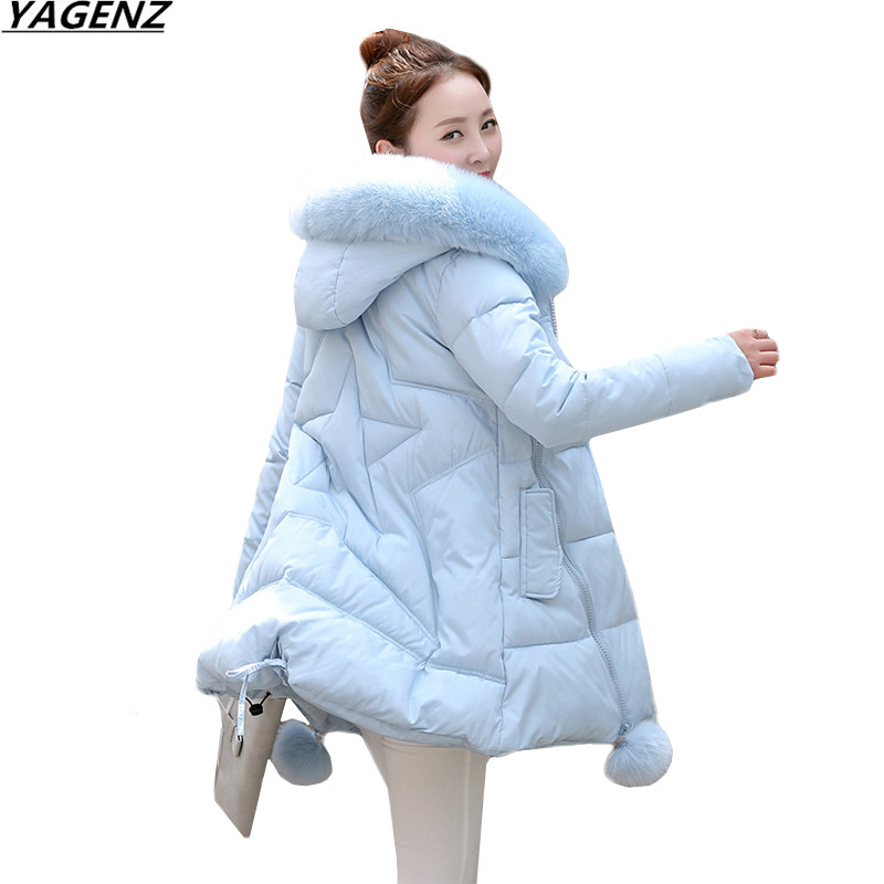 Women Thick Warm Long Winter Jacket Women Parkas 2017 Faux Fur Collar Hooded Cotton Padded Winter Coat Female Outerwear YAGENZ women winter cotton padded jacket warm slim parkas long thick coat with fur ball hooded outercoat female overknee hoodies parkas