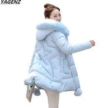 Women Thick Warm Long Winter Jacket Women Parkas 2017 Faux Fur Collar Hooded Cotton Padded Winter Coat Female Outerwear YAGENZ