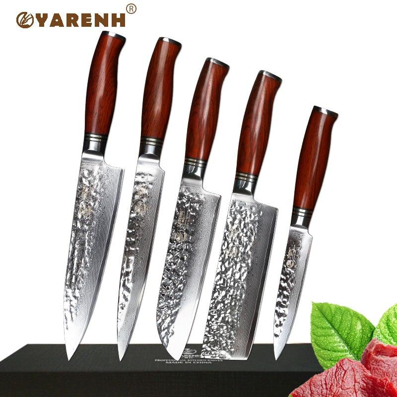 YARENH 5 pcs cuisine couteau ensemble Japanses damas professnal cadeau box chef ensembles de couteaux avec manche en bois meilleure cuisine couteaux ensemble