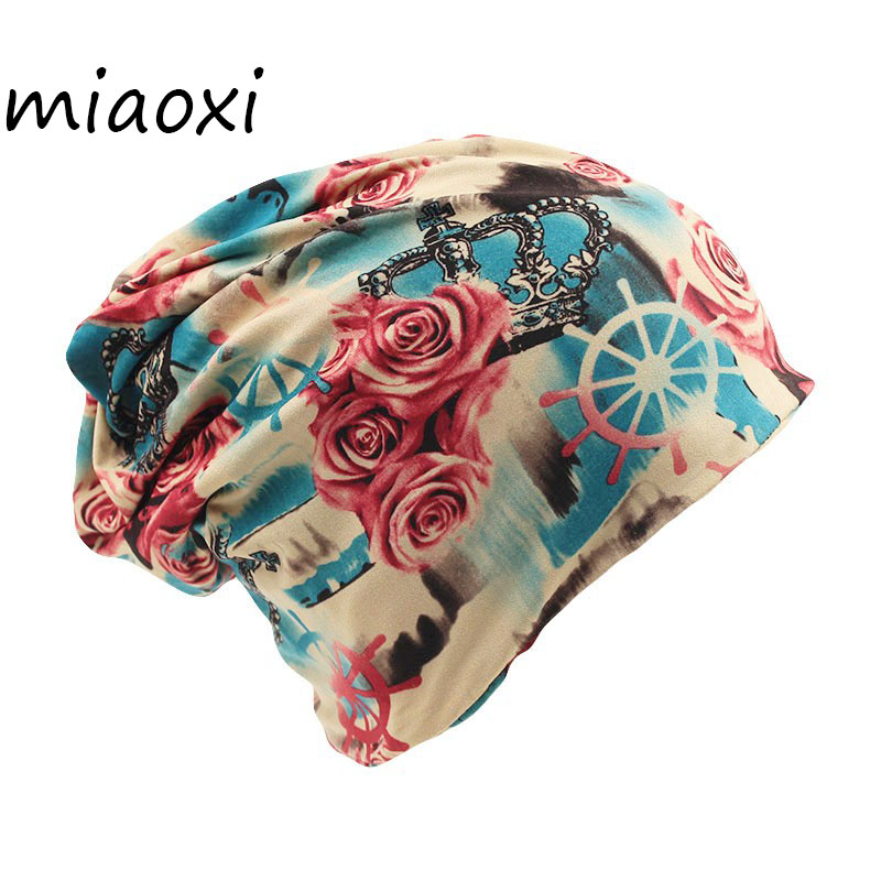 miaoxi Fashion Two Used Women Floral Hat For Female Knitted Beanies Warm Scarf Winter Gorro Headwear Girls Cap Shop Top Sale women s hat muslim flowers decorated beanies scarf cap two color fashion flower hat famous winds tight adjustment female hat