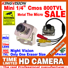 Mini HD 1/3cmos 800TVL Surveillance Home INDOOR Audio MIC Cctv Camera 6led Infrared Night Vision small Metal Analog Color Video