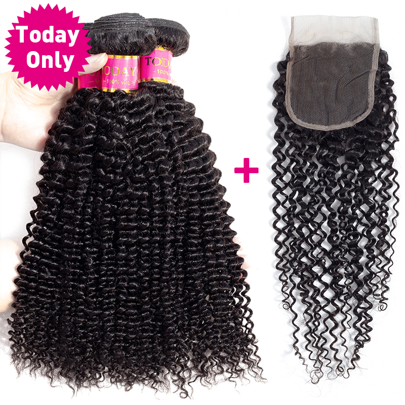 TODAY ONLY Deep Curly Bundles With Closure Peruvian Hair 3 Bundles With Closure Remy Curly Weave Human Hair Bundles With Closure