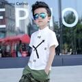 Марка 100% Хлопок Мальчиков Младенца Рубашки Белый Розовый Мальчик Рубашка С Коротким Рукавом Рубашки Школа Для Мальчиков детские Часы Печатных рубашка