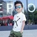 Marca 100% Del Algodón Del Bebé Niños Rosado Blanco del Muchacho Camisa de Manga Corta Camisas Para Los Muchachos de Los Niños de La Escuela Reloj Impreso camisa