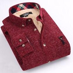 Новая зимняя Повседневная рубашка с бархатной рубашкой, мужская клетчатая Толстая теплая и с длинным рукавом, большой размер, Мужская одежд...