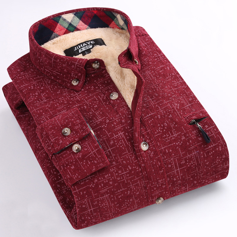 New Winter Casual Shirt With Velvet Shirt Men Plaid Thick Wa