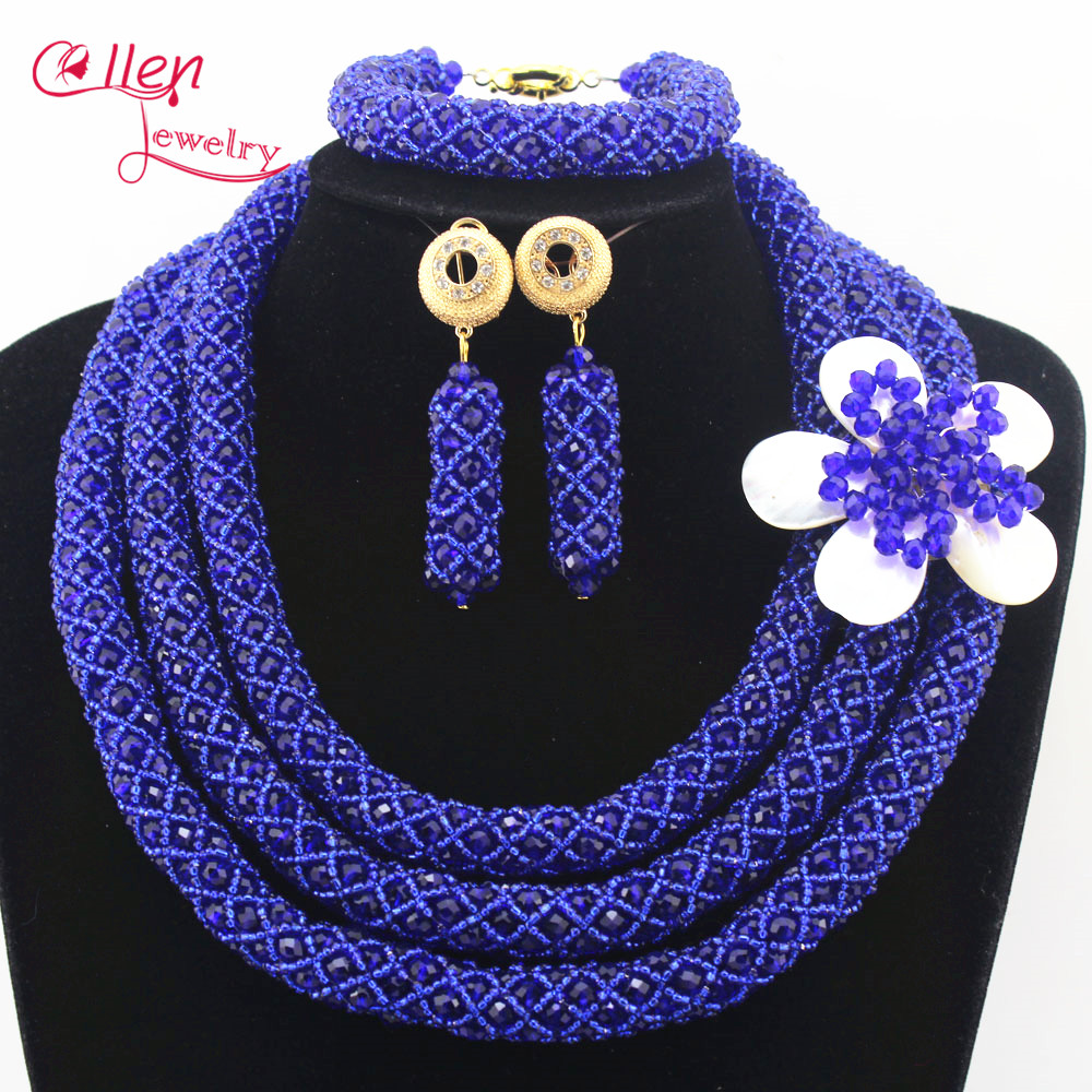цена Royal blue Nigerian Wedding Bridal Colorful Jewelry Set African Beads Jewelry Set Handmade Necklace Sets Bracelet Earrings N0006 онлайн в 2017 году