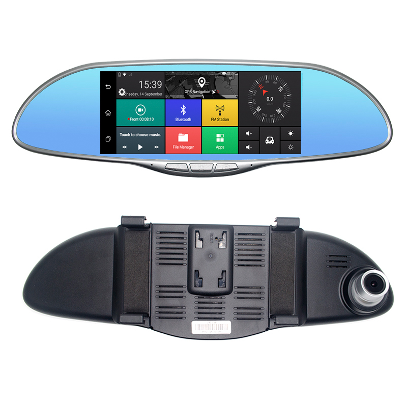 Car DVR Dash Cam touch screen GPS navigation Bluetooth rearview mirror FM transmit 3G Detector Video Recorder 7.0 inch Wifi New