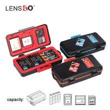 Lensgo d950 caixa de armazenamento da bateria da câmera caso protetor à prova de choque para aa bateria sd cf xqd cartão memória organizador titular