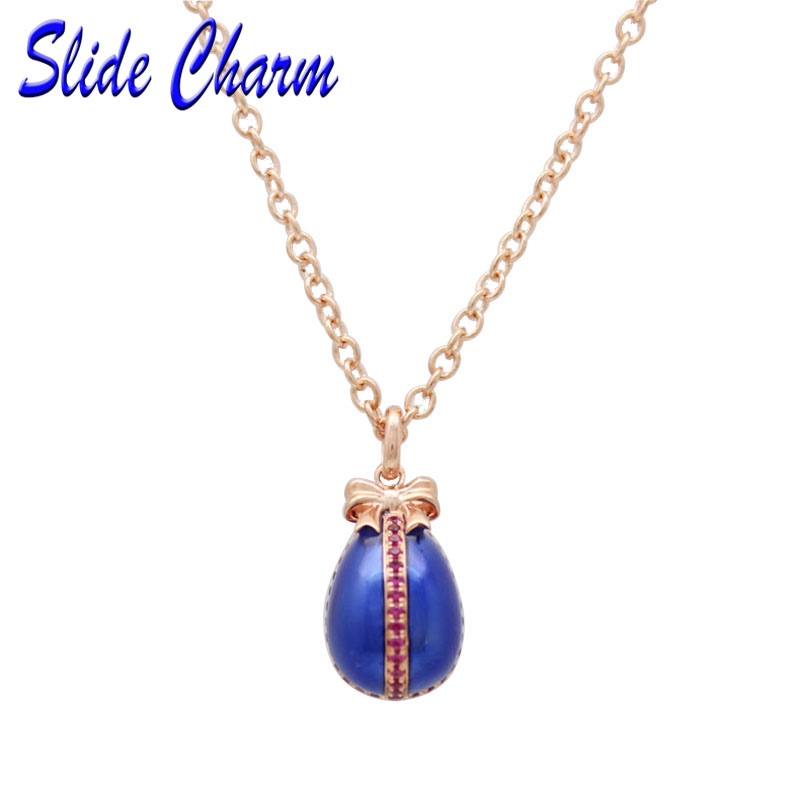Slide charm Easter purple rhinestone blue enamel egg pendant with Russia 43.5c + 2.5 rose gold necklace Valentine's Day gift