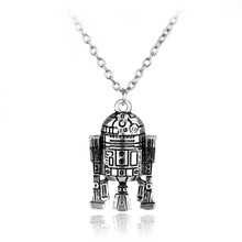 Star Wars Robot Pendant Necklace Long Necklace Jewelry High Quality for Women Men Best Friend Ship Gift Sikver jewelry(China)