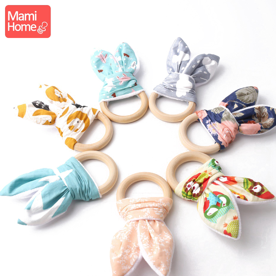 Mamihome 1pc 56mm-70mm Baby Wooden Teether Ring Bunny Ear Wooden Rodent Blank Rattle Montesso Newborn Toys Children'S Goods Gift