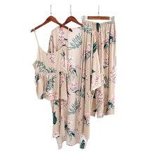 Summer sleeveless Rayon women three piece suit Casual robes floral fresh pajamas women pyjamas Sauna simple gown sets pijama