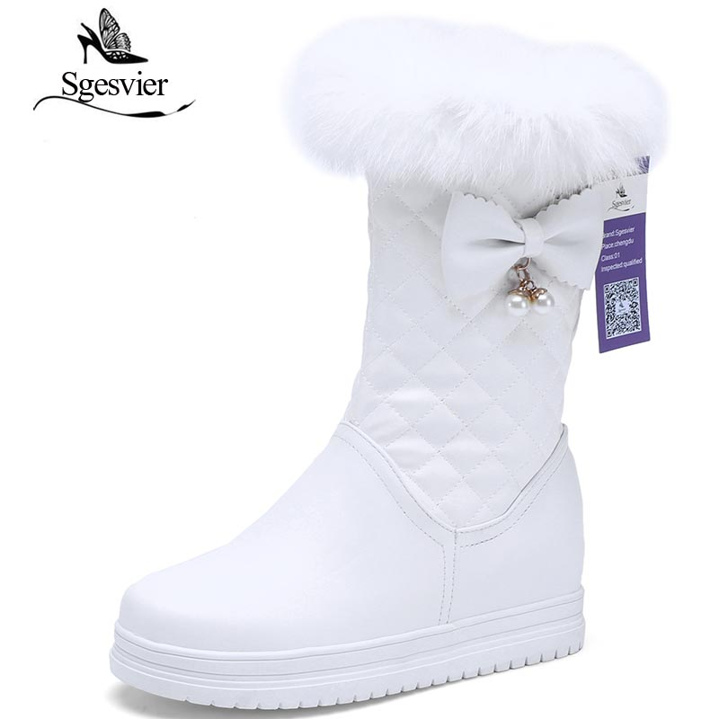 SGESVIER Winter Snow Boots Warm Plush Mid Calf Boots Platform Heel Shoes Woman Zipper Half Boots Sweet Bowtie Lady Shoes OX151 ryvba woman winter mid calf snow boots women fashion womens half knee boots ladies shoes female warm thick plush boots flats