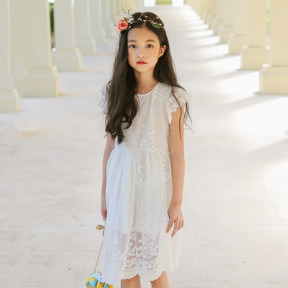 Kids Dresses For Girls Summer Wear 2019 Baby Girl Clothes Sleeveless White Lace Girl Party Dress Toddler Girl Dress 6 8 9 10 12