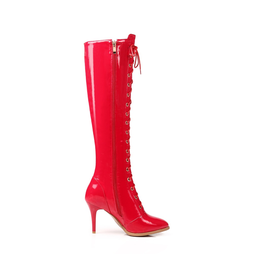 Super ef1265 Noir Taille Sexy Bottes Nous Haute Femmes Talons 3 Initiale Femme Mince Pointu 13 Genou Rouge Bout Black Red Hauts L'intention Plus Ef1265 Chaussures gUxq75EwE