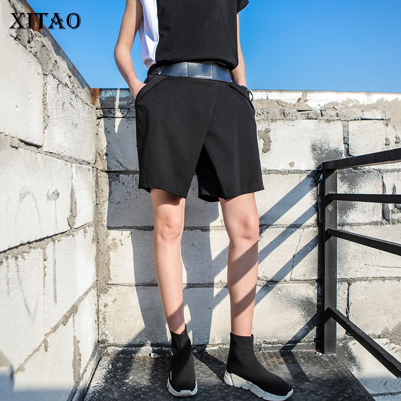 [XITAO] Korea Fashion 2018 Summer New Women Elastic Waist   Wide     Leg     Pants   Female Solid Color Casual Knee Length   Pants   KZH219
