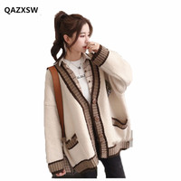 2019 New Sweater Female Harajuku Style Jacket Loose Korean Sweater Long sleeved Winter Long Clothes SY092
