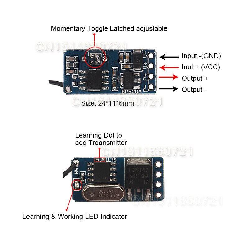 DC3.5V 12V 12 PCS Mini Receptor Para Lâmpada LED de Luz Micro Interruptor de Controle Remoto de Iluminação Mini Controlador Sem Fio RF TX RX - 2