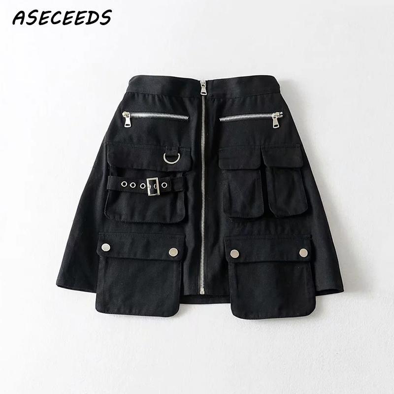 2019 Summer Skirts Womens High Waist Skirt Vintage Cargo Style Black Skirts Punk Streetwear Korean Chic Zipper Pocket Mini Skirt