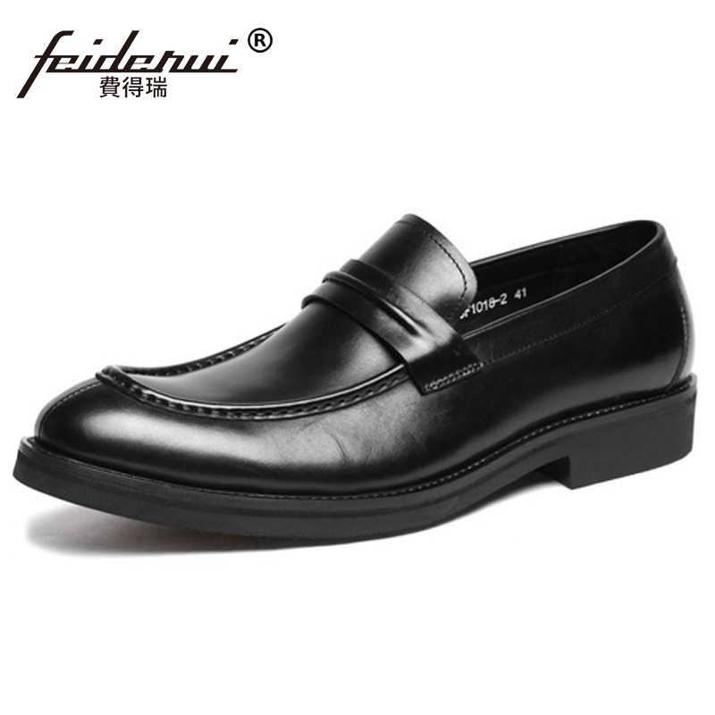 цена Luxury Round Slip on Platform Man Casual Shoes Genuine Leather Male Loafers Designer Brand Comfortable Men's Dress Flats HD44