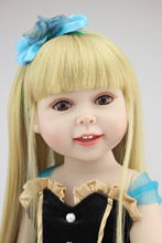 AMERICAN PRINCESS 18'' 45CM GIRL Yellow long straight Hair with Black Dress Reborn Baby dolls full VINYL baby dolls for girls(China)