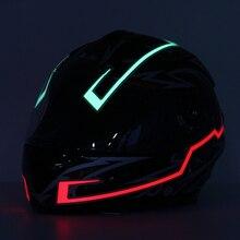 In Magazzino! 8 colore Del Casco del Motociclo Luce della Striscia di Modo di Moto Modificate Incandescente Bar Casco Notte Luce di Segnale Luminoso Striscia