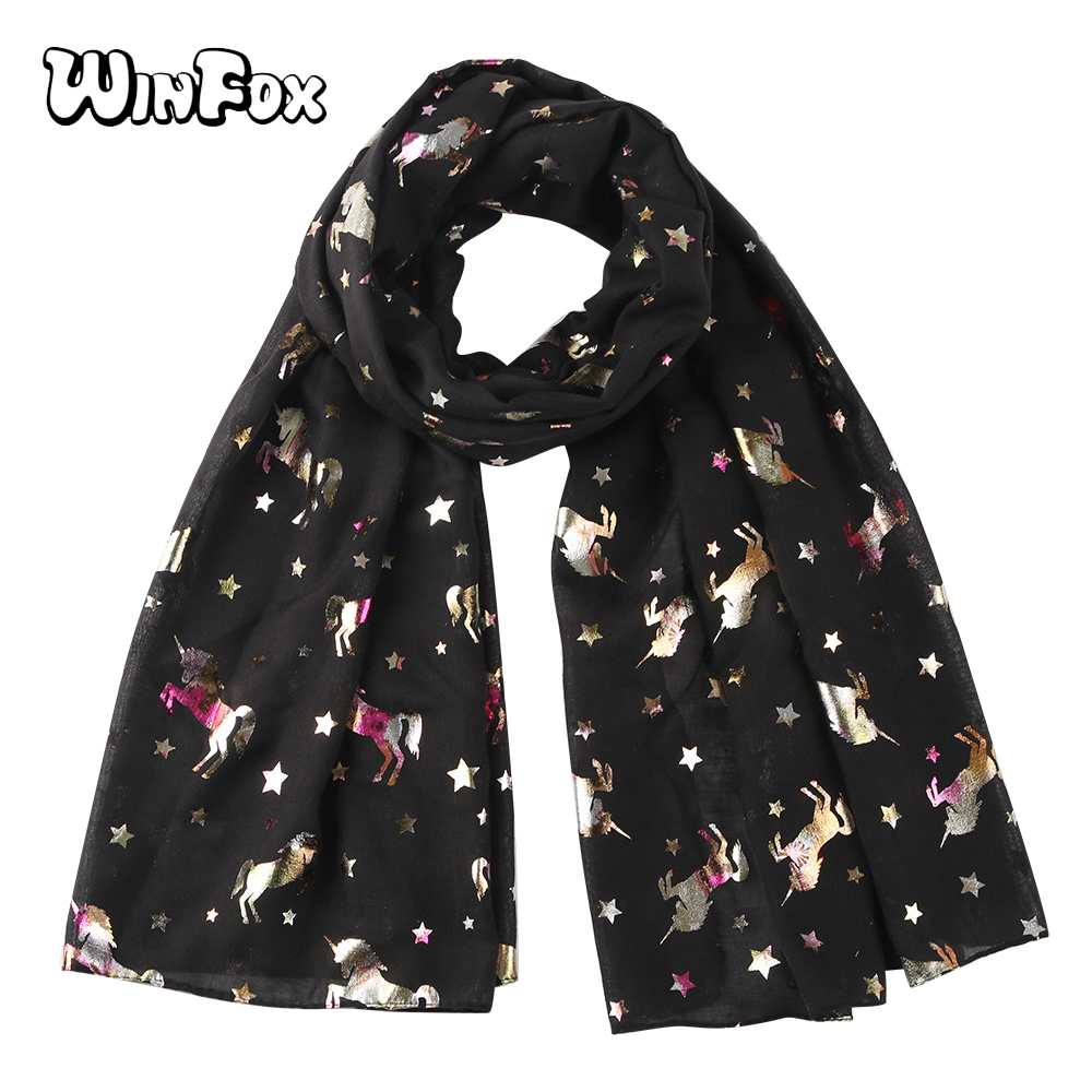 Winfox Fashion Black White Shiny Glitter   Scarf   Female Unicorn Star Foil Silver   Scarf   Shawl   Wraps   For Women