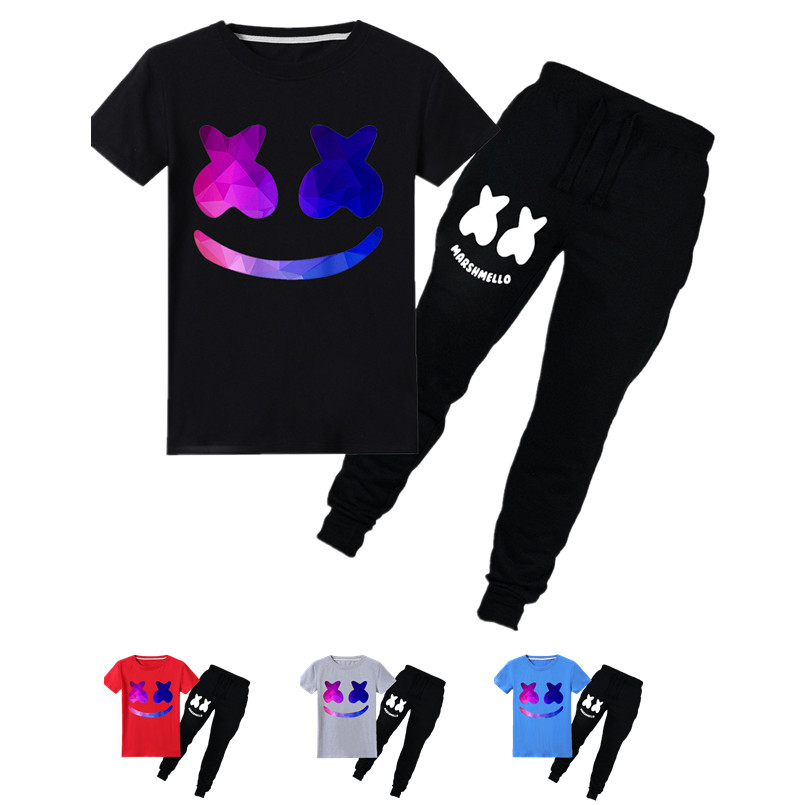 Boys' Clothing Pant 2pcs Rapid Heat Dissipation T-shirts New Minecraft Children Cartoon Marshmello Funny T-shirts Kids Top Boys/girls Long Sleeve Clothes Casual Baby T Shirt