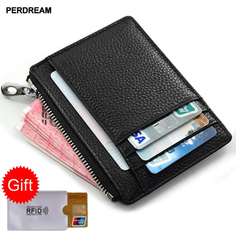 PERDREAM Cowhide Leather Coin Purses Solid Zipper Mini Wallet For Woman Children Fashion Id Card Holder Handmade Mini Bag