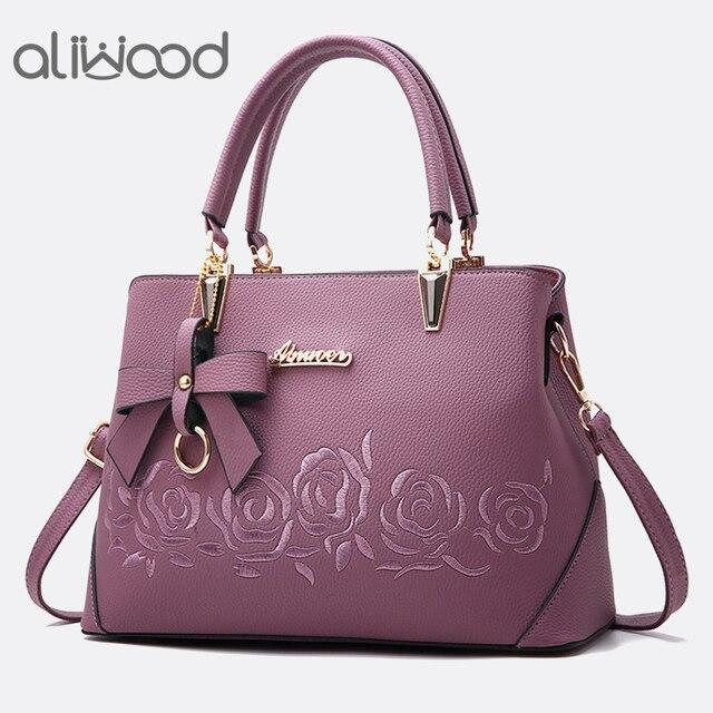 Aliwood Europa Moda Bolsas das Mulheres Das Senhoras bolsa de Ombro de Alta Qualidade Sacos Do Mensageiro de Couro Mulheres Crossbody Bag com Arco