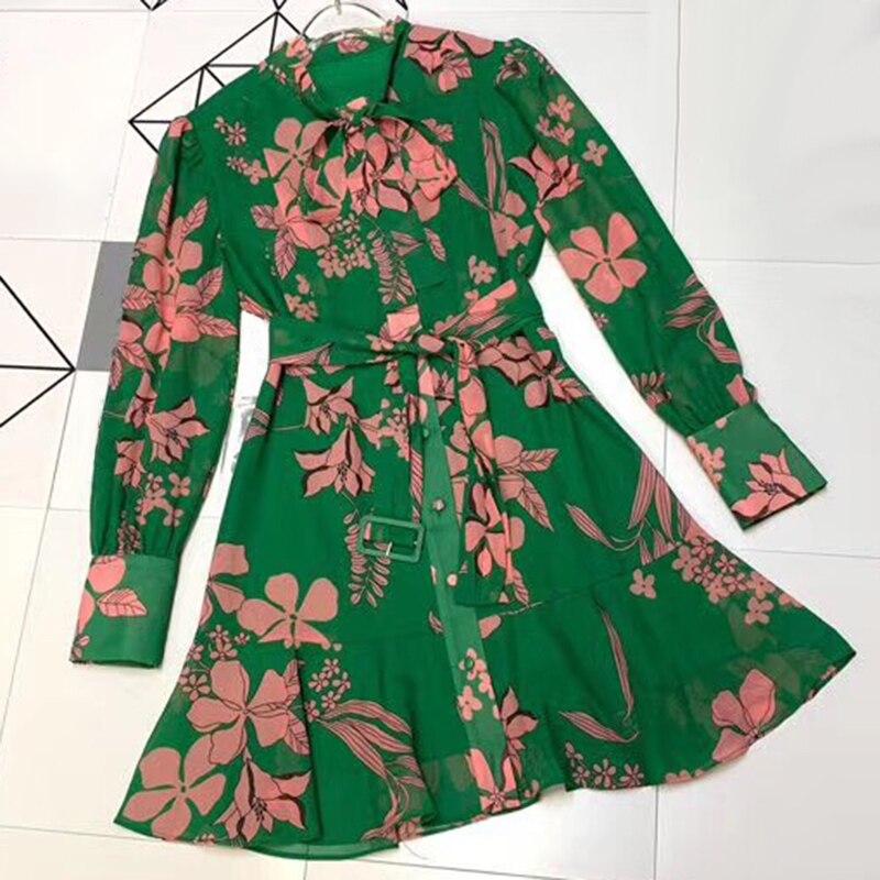 Bikinis Printemps 2019 Floral robe imprimée Vert Robe Rétro Femmes robe de haute qualité avec Des Ceintures Arc Col Robe Féminine