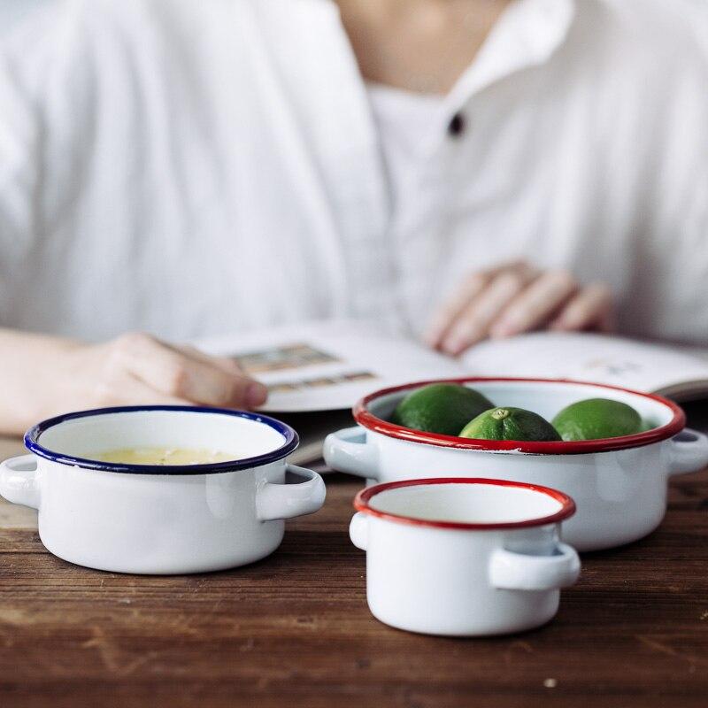 Эмалированная миска с двойными ушами, Салатница, столовая посуда, закуска, лоток, миска для супа|Чаши|   | АлиЭкспресс - Предметы для кухни