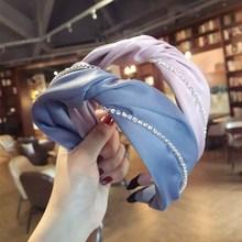 Silk Crystal Knot Headbands For Women Korea Hair Accessories Bows Crown Rhinestone Hairbands Head Wrap Band