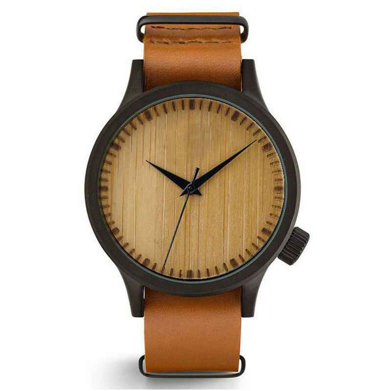 Reloj de bambú de madera Real para hombre esfera simple caja de aleación ultrafina clásica pulsera de cuero de lujo moda coreana watch06
