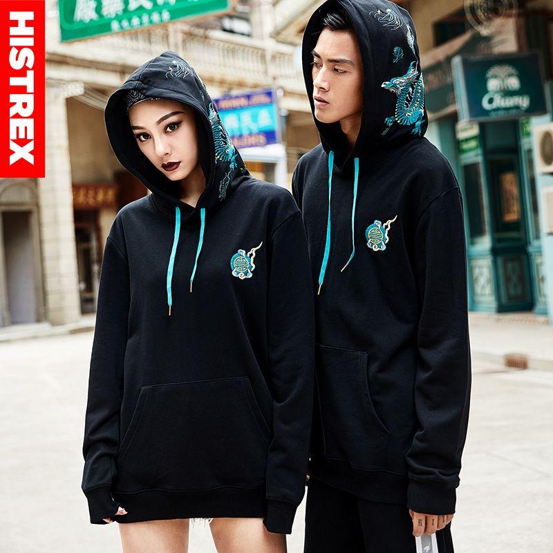 Image 4 - 100 Cotton HISTREX Hoodie Men 2019 Japanese Style Embroidery  Chinese Dragon Harajuku Hip Hop Hoody Sweatshirt Streetwear MensHoodies