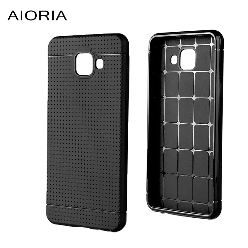 AIORIA Soft case for Samsung Galaxy A5 2016 Double line design Rubber silicone TPU material  Solid Black color