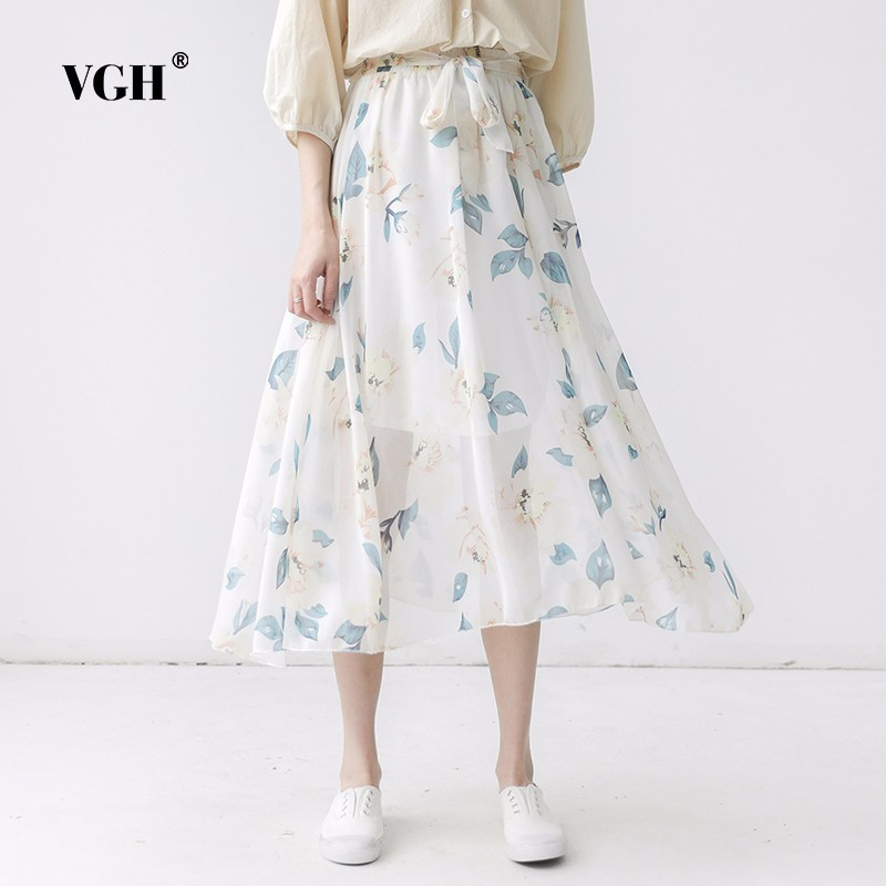 VGH Dependant White 2018 Summer New Pattern Korean Chiffon Degree Of Tightness Waist Belt Long Fund Shivering Woman