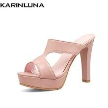 ed1ea94356 Karinluna 2018 tamanho grande 32-43 melhor qualidade mulas plataforma verão bombas  mulheres sexy sapatos de salto alto mulher da.