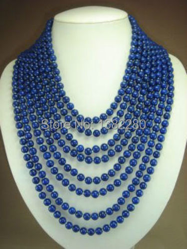 "Free shipping!wholesales design gift 8 rows 6mm blue lapis lazuli beads Jasper necklace 17-24""  JT5864"