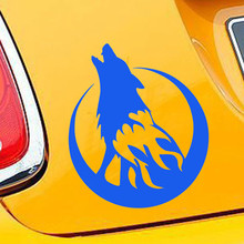 13*15CM Wild Animal Car Sticker Howling Wolf Moon Decorative Accessories Waterproof  Vinyl Decal