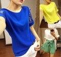 Plus Size 3XL Mulheres Moda Oco Manga Chiffon Camisa Verão Camisa de Manga Curta Feminina Solto Tops para As Mulheres T6474