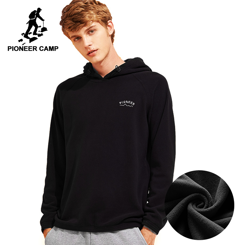 Pioneer Camp autumn winter fleece warm men hoodies brand clothing warm hooded male sweatshirt quality tracksuit AWY701350