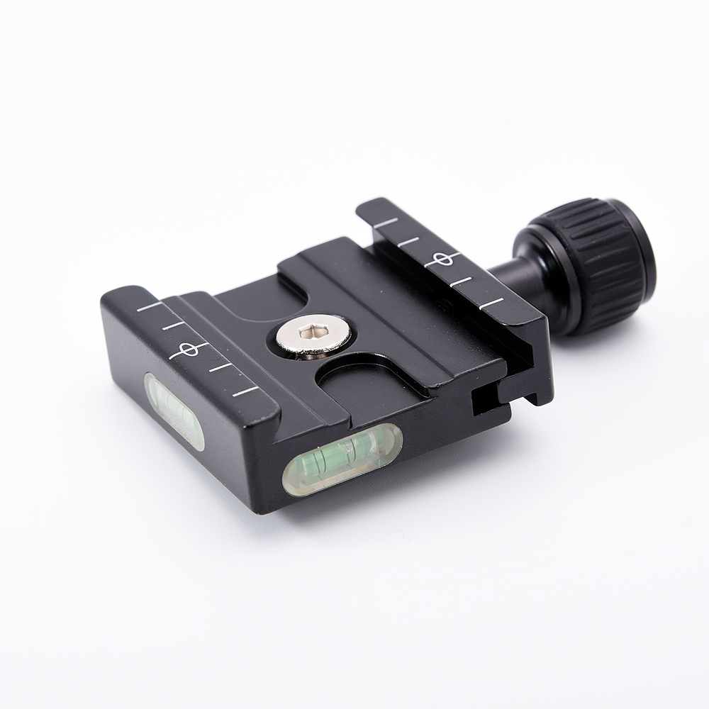 QR-50 Quick Release Plate Clamp Adapter with Built-in Bubble Level for Arca Swiss RRS Wimberley Tripod Ball Head
