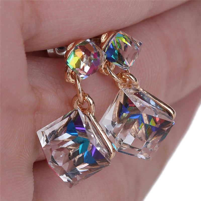 1Pair Double Crystal Cube Earring Women Fashion Earrings Sweet Stud Colourful For Beauty Women Girls  Bijou Statement Jewelry