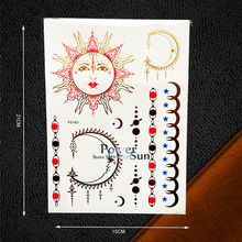 1PC Sexy Body Art Gold Temporary Tattoo Moon Soon Star Jewel Design Women Henna Decal Waterproof Metallic Tattoo Sticker PYS-103