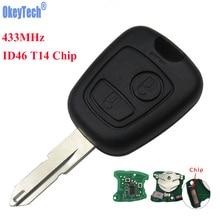 Okeytech 2 кнопки NE73 лезвие дистанционного брелок передатчик контроллер для Peugeot 206 433 мГц с ID46 T14 чипа и Батарея