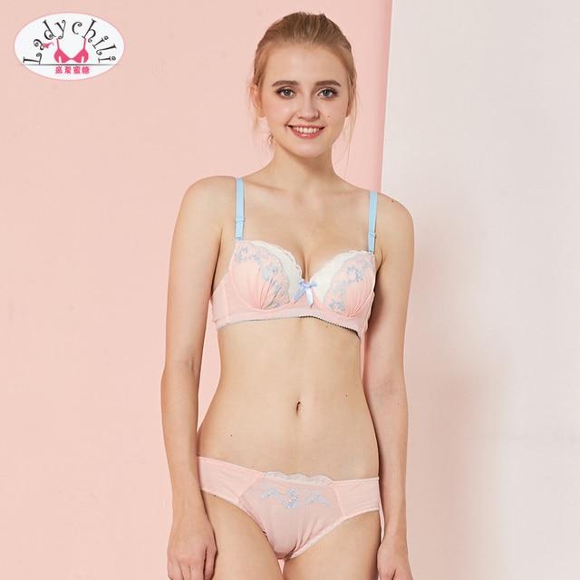 8965cad712a72 Ladychili Women Intimates Pink Chiffon Lace Embroidery Yong Girl Matching  Bra And Panties Set Push Up Bra Underwear Kit N224