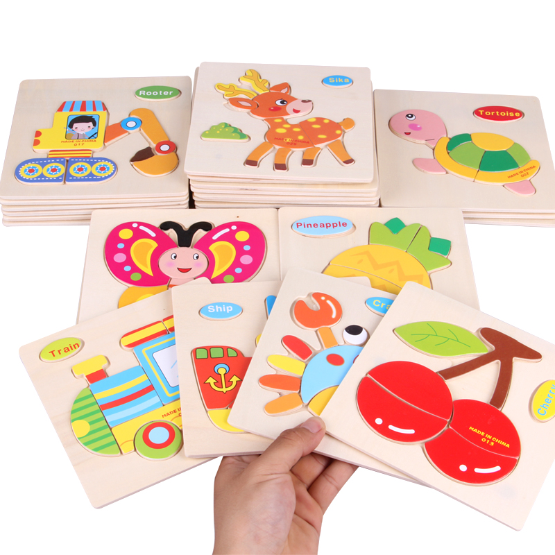 Wooden 3D Puzzle Jigsaw Wooden font b Toys b font For Children Cartoon Animal Traffic Fruit