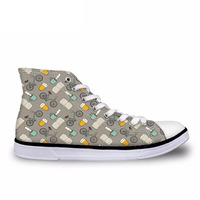 Shoes For Teens Coffee Books Bikes and Beer Canvas Shoes Male High Top Vulcanize Shoes Flats Sneakers Zapatos Hombre
